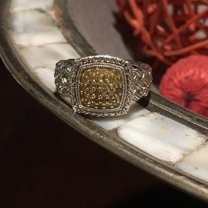 sterling silver & genuine yellow diamond ring